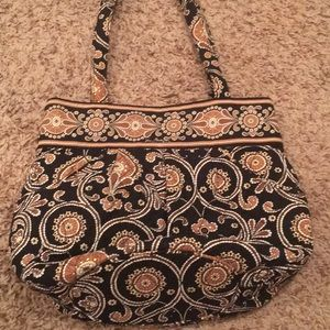 Vera Bradley purse. Black and Tan print